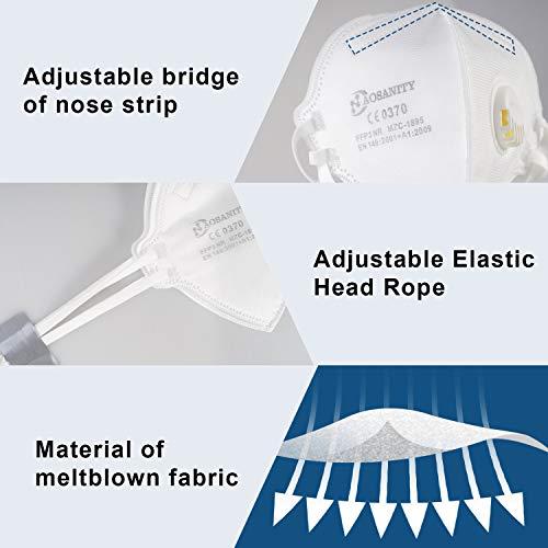 10X FFP3 Maske CE Zertifiziert Schutzmaske Mundmaske, 6-Lagen-Atemschutzmaske, Staub-Atemschutzmasken Faltbare Staubschutzmasken Mund-Nase Gesichtsschutz Norm EN149:2001+A1:2009 mit Ventil 10Stück - 6