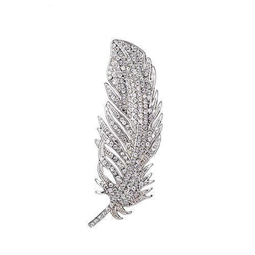 SSyang Gama Alta para Mujer Broche de Moda Simple,Broche de Plumas Vintage Vestido de Broche Noble de Mujer Decoración Broche de Plumas Elegante Broche de Circonita Broche de Fiesta de Moda Chic