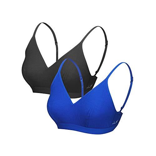 LOVIDA, Organic Cotton Women's Wire Free Bra. Comfortable and Flexible fit Wireless Inner wear (Santorini Blue, Medium)