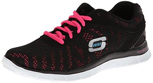 Skechers Flex Appeal First Glance, Chaussures de Sports en Salle Femme - Noir (BKHP), 38 EU (5 UK) (8 US)