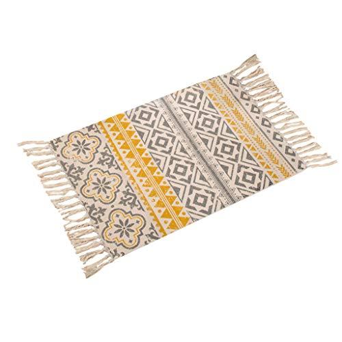 Aisumi American Bohemian Area Rug Dekorative Baumwolle Leinen Handgewebte Geometrische Muster Bodenmatte Teppich Mit Quasten Wohnkultur 60x90 CM