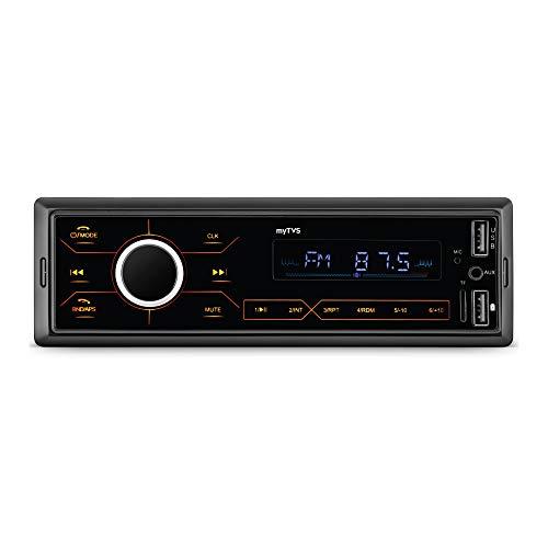 myTVS MP-T1 Touch Screen Single Din Car Stereo Media MP3 Music Player System with Dual USB Bluetooth One Touch to Receive Call FM/AUX/USB/MMC