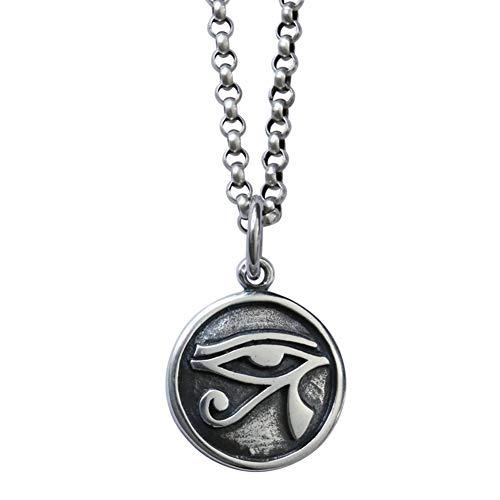 Nordische Mythologie Anhänger Auge des Ra Horusauge glänzend Sterling Silber 925 Punk Wind Pagan Amulett Rune Schmuck Geschenk für Männer Jungen,60cmChain