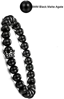 Natural Beads Bracelet for Men Women Black Matte Onyx Beads Adjustable