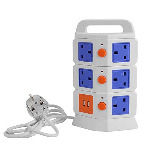 Enchufe inteligente ultradelgado vertical de tres / dos capas 5 salidas 2 puertos USB Enchufe de conector de interruptor de enchufes de regleta de alimentación de torre