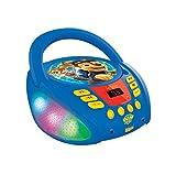 Lexibook- Paw Patrol-Lettore CD Bluetooth per Bambini – Portatile, Effetti Multicolore, Jack per Microfono, AUX in, AC o batterie, Ragazzi, Blu/Rosso, RCD109PA