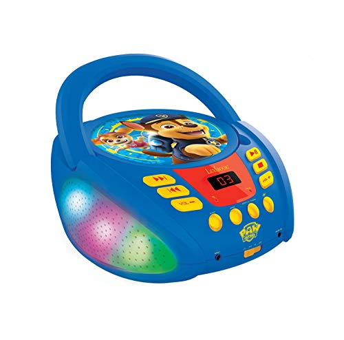 Lexibook RCD109PA Paw Patrol-Bluetooth-CD-Player für Kinder-Tragbar, Lichteffekte, Mikrofonbuchse, Aux-In, Akku oder Netz, Mädchen, Jungen, Blau/Rot