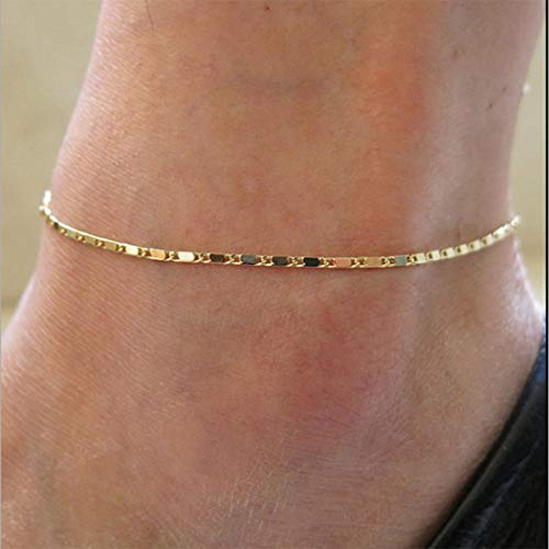 Chicer Simple Foot Chain Anklet Fashion Adjustable for Women and Girls (Gold)