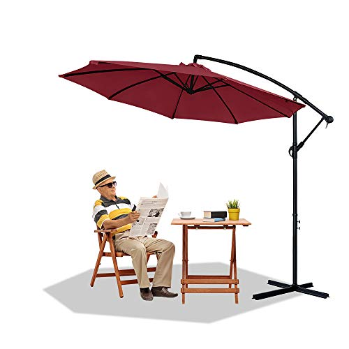 HENGMEI Ø300 cm ALU Sonnenschirm Gartenschirm Ampelschirm Strandschirm Kurbelschirm Neigbar Marktschirm Terrassenschirm mit UV Schutz 40+ für Balkon, Garten, Tarasse (Ø300 cm, Rot)
