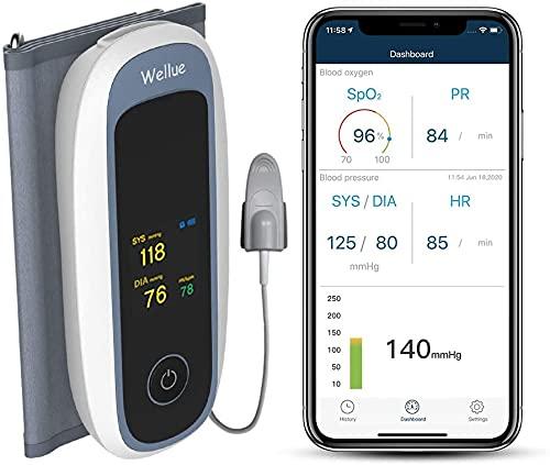 Monitor de oxígeno en la sangre, máquinas automáticas de presión arterial Bluetooth para uso doméstico, monitor de salud con control remoto, brazalete grande, aplicación para iOS y Android