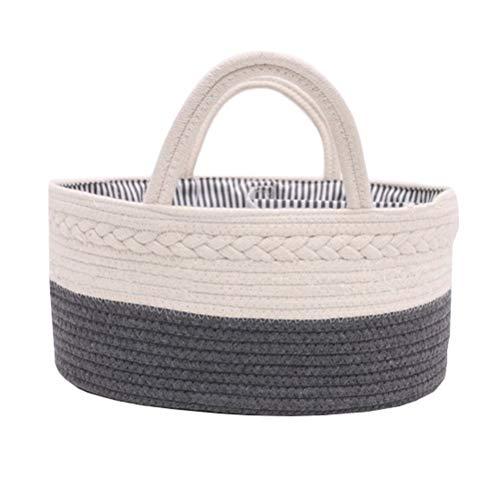 Cesta para pañales de bebé con 3 compartimentos para guardar pañales y toallitas Gris Negro Talla:36x22x18cm