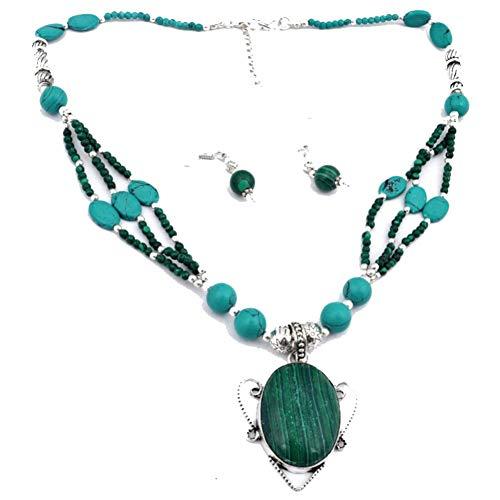 Verde MALAQUITA, azul, turquesa, CUENTAS, COLLAR tribal, juego de pendientes, 18 'de largo, chapado en plata de ley, joyería artística hecha a mano, tienda de variedad completa