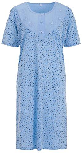 Zeitlos Lucky Nachthemd Damen Kurzarm Blümchen Stickerei Knöpfe, Farbe:blau, Größe:XL