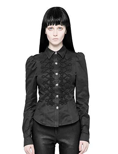 Punk Rave Damen Schwarz Gothic Military Uniform Knopfloch Schleife Langarm Shirt Tops L