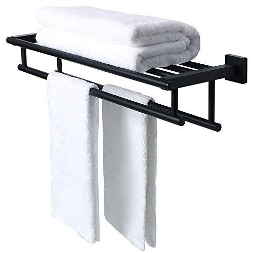 SAYAYO Barra de toalla de riel doble para toallas Montado en la pared 24 pulgadas, acero inoxidable SUS 304 negro, EGZ8000-B