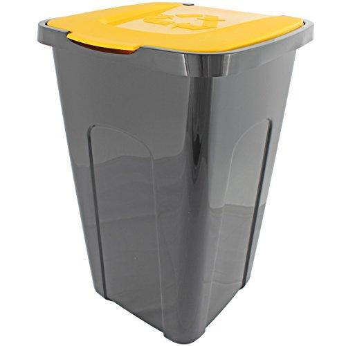 *Abfalltonne Mülltonne Abfalleimer Mülleimer 50 Liter Recycling mit Deckel (Deckel Gelb)*