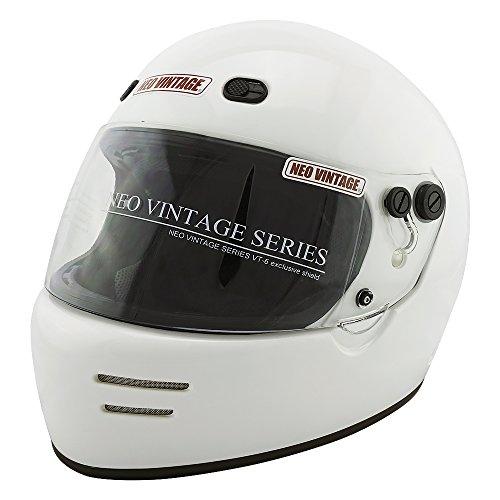 NEO VINTAGE ドラッガースタイル フルフェイス SG規格品 ステッカー付 [ホワイト×クリアシールド 白 Lサイズ:59-60cm対応] VT-6 バイクヘルメット
