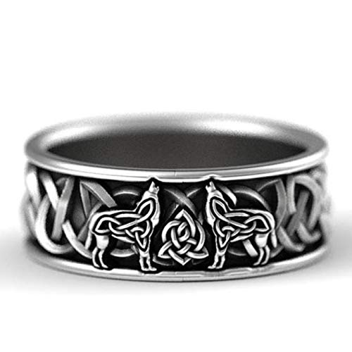 Sanheng Sturdy 925 Sterling Silver Men Rings Norse Mythology Giant Wolf Fenrir Defend Totem Amulet Jewelry Boyfriend Men Hip Hop Viking Wolf Stainless St(None 10 10)