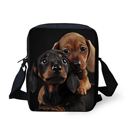 Nopersonality Lässige Schulter-Handtaschen, kleine Umhängetasche, Kuriertasche für Frauen, Schwarz - Dackel - Größe: Small