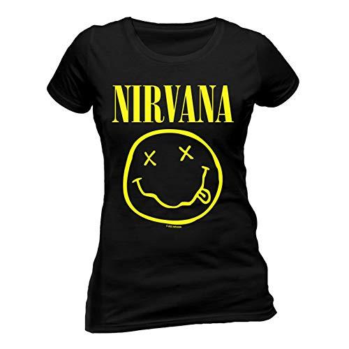 Ladies Nirvana Smiley Kurt Cobain Rock Grunge tee T Shirt Womens Girls...