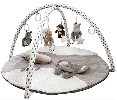 Gabby Grove Gentle Jungle Educational Baby Activity Gym and Infant Play Mat in Grey Shower Gift for Newborn with Mirror, Tummy Time Pillow, and Toys in Gray, White and Cream