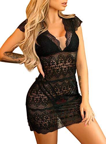 Fiyote - Camisón de lencería de peluche para mujer, de encaje, color negro