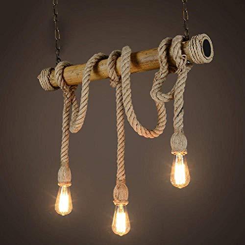 Araña colgante de la novedad de la cuerda, 3 araña principal, estado de ánimo de época, cuerda de cáñamo y luces colgantes de bambú