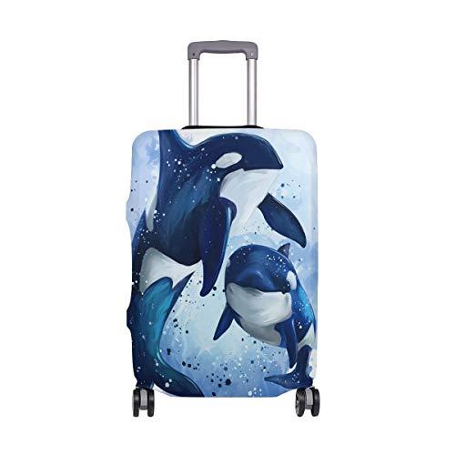 Orediy - Funda elástica para equipaje de viaje con dos ballenas asesinas en el océano (sin maleta), multicolor (Multicolor) - suitcasecover