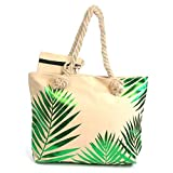 Black Ginger Large Beach Bag with Green Tropical Leaves Rope Handles & Free Matching Zipped Purse…