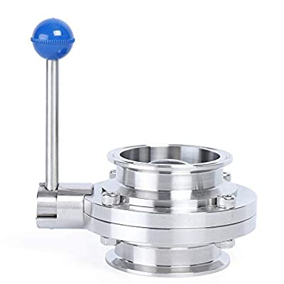 "Sanitary Butterfly Valve with Pull Handle Stainless Steel 304 Tri-clamp Clover Quick-Clamp Sanitary Fitting 3"" Tube OD from KOUGER"
