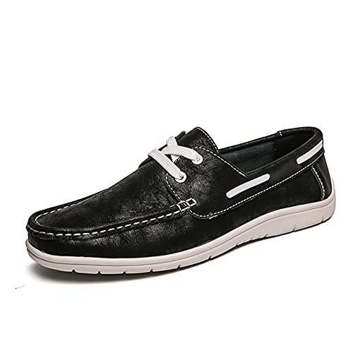 DIYHM Barco de ocio para hombre Loafer de cuero genuino de cordón de cordón de mocos de punta redonda zapatos livianos categóricos resistente al deslizamiento de color