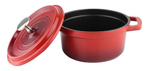 en Aluminium moulé sous Pression, Cocotte Rond avec Couvercle, Rouge, 16 cm de diamètre, 1L