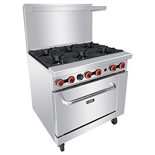Heavy Duty 36''Gas 6 Burner Range With Standard Oven - Kitma Natural Gas Cooking Performance Group for Kitchen Restaurant, 177,000 BTU