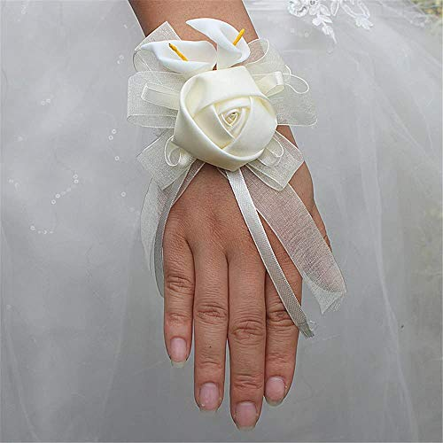 Fouriding, fiore da polso, perle, bracciale da sposa, decorazione da matrimonio, accessorio per vacanze, da spiaggia, per cerimonie, matrimoni, gioiello da capelli
