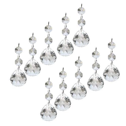 10 Pcs Colgante de Cristal Octágono Colgante de Lágrima Prismáticas de Adornos de Cristales para Candelabros, árboles de Navidad, Lámparas,