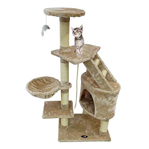 Todeco - Albero per Gatti, Alberi Tiragraffi per Gatti - Materiale: MDF - Dimensione casa per Gatti: 30,0 x 30,0 x 42,9 cm - 120 cm, 5 Piattaforme, Beige