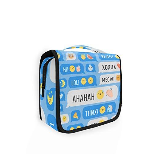 Rulyy - Neceser para colgar, diseño de emoticono, cara de limón, unicornio, bolsa de lavado de cosméticos de gran capacidad, organizador para viaje de maquillaje, bolsa portátil para niñas y mujeres