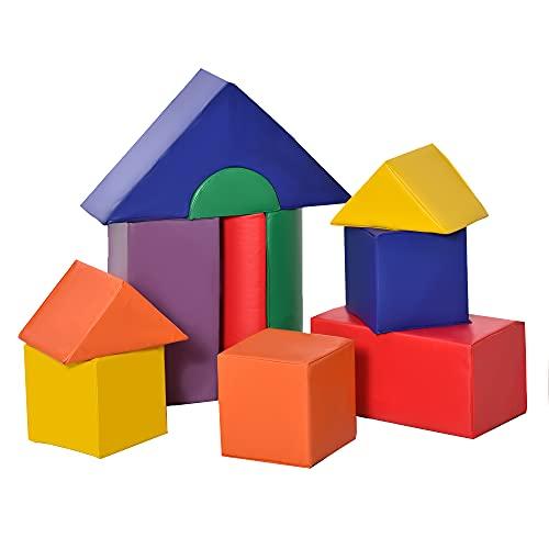 HOMCOM 11 Blocs de Construction en Mousse XXL - modules de motricité - Jouets éducatifs - certifiés Normes EN71-1-2-3 - Mousse EPE revêtement PU Multicolore