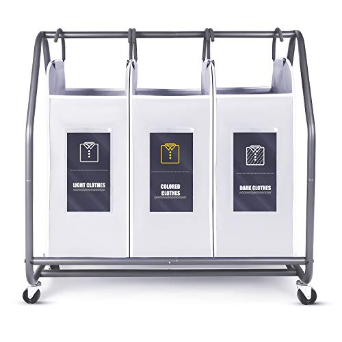 Biemlerfn Laundry Sorter Cart Laundry Hamper Sorter with 6 Soft Cards for Clothes Toys Storage