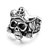 DZXCB Vintage Hombres Pirata Capitán Cráneo Anillo De Acero Inoxidable Cráneo Motorista Mujeres Gótico Punk Anillos Joyería,9