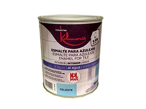Kolmer - Esmalte Para Azulejos Al Agua - Sin Imprimación - Directo Superficie - 750 ml (750 ml, Celeste)