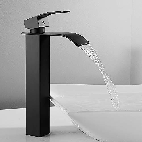 Vattenfall handfat blandare kran bänk topp kran ett handtag hål mässing krom bad handfat kranar för hem kök tvättrum badrum kranar (svart sprej)