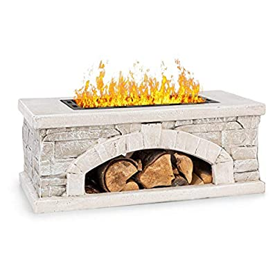 blumfeldt Matera Fire Bowl Fire Pit - Fire Bowl Size: 50.5 x 26.5 cm, Water and Frost Resistant, Fuel Types: Wood or Charcoal, Steel, MagicMag Material: MgO Artificial Stone, Stone Look/Black by Blumfeldt