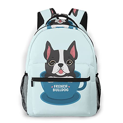 School Backpack French Bulldog Blue Dog for Student Bookbag Durable Casual Daypack Teens College Lightweight Hiking Travel Bag