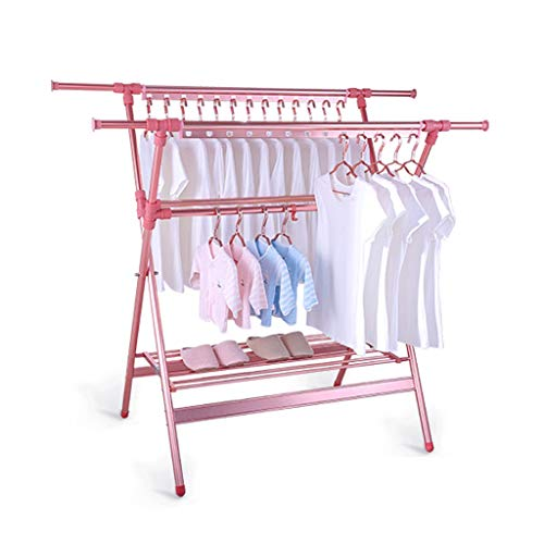 Drying rack Lyl Telescópica Acero inoxidable doble varilla Interior balcón colgador colgante ropa con polea (Color: Rosa)