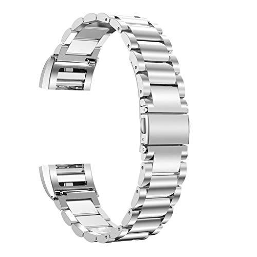 Ersetzen Sie das Compatilbe Armband aus rostfreiem Metallstahl für Fitbit Charge 2 Schnalle + Splitter, Solide Eng Jedes Polieren (Silber)