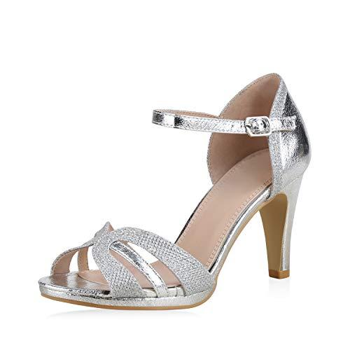 SCARPE VITA Damen Pumps Sandaletten Riemchensandaletten Elegante Schuhe Stiletto High Heels Metallic Glitzer 183237 Silber Glitzer 37