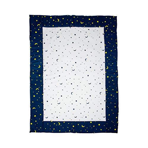 Bornino Home Krabbeldecke Mond und Sterne – Baby-Spielmatte 100x140 cm – Decke zum Spielen & Krabbeln