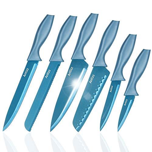 Antizz 6-Piece Kitchen Knife Set, Stainless Steel Knife Set, Dishwasher Safe Professional Chef Knife Sets Blue