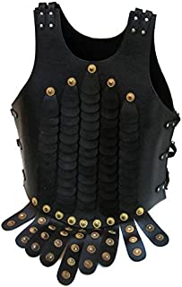 EcWorld Enterprises 8880713 Replica Display Roman Legion Leather Lorica Squamata Breast Armor With Pteruges - Black